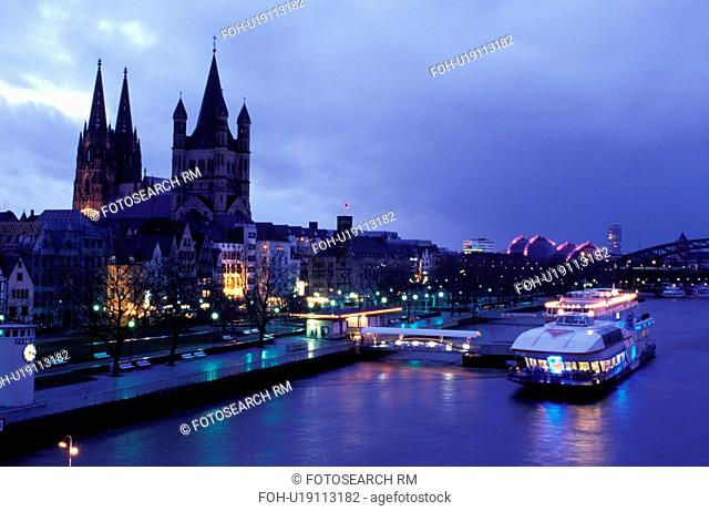 Germany, Cologne, Koln, Nordrhein-Westfalen, Rhine River, Europe, Scenic view of the city of Cologne (Koln) and the Cologne Cathedral (Dom) along the Rhine...