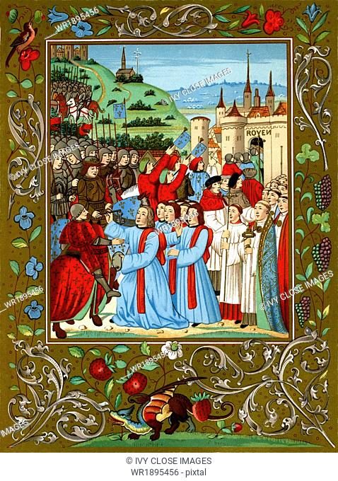 Charles and Rouen: King Charles VII of France enters the castle at Rouen, October 26, 1449. Charles is riding the horse draped in a red mantle (at lower left)