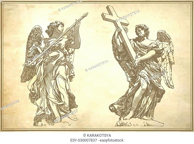 original sketch digital drawing of marble statue of two angels on old paper background from the Sant'Angelo Bridge in Rome, Italy, vector illustration
