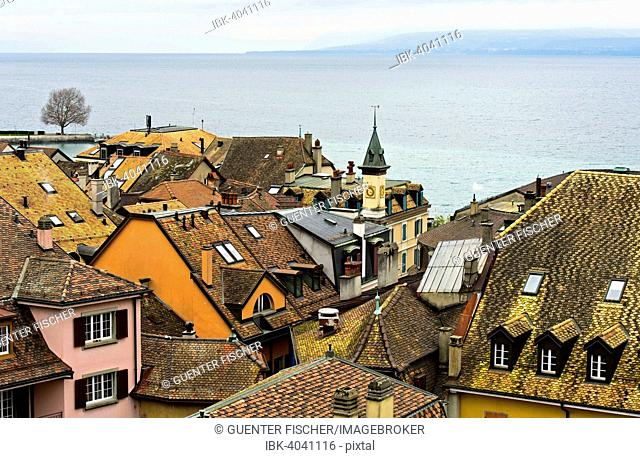 View from the castle over the rooftops of Nyon of Lake Geneva, Nyon, Canton of Vaud, Switzerland