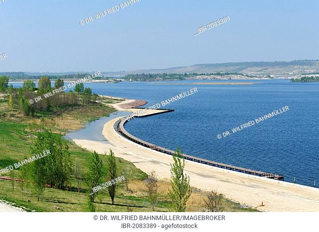 Geiseltalsee Lake near Muecheln, former open-cast mine, Saxony-Anhalt, Germany, Europe