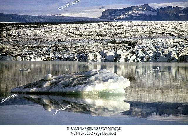 Floating icebergs reflected in the quiet waters of Jokulsarlon, the largest glacier lake in Iceland