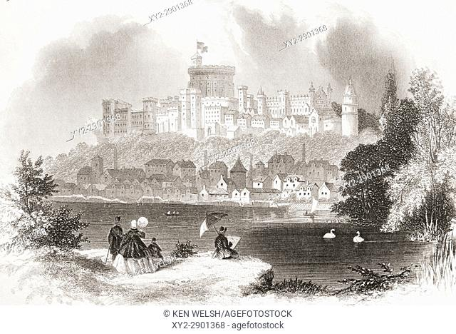 Windsor Castle, England in the 19th century. From The National and Domestic History of England by William Aubrey published London circa 1890
