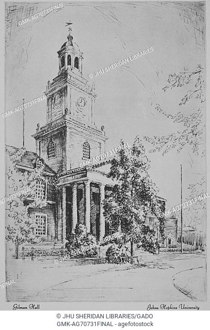 A sketch of Gilman Hall on the Homewood campus of Johns Hopkins University in Baltimore, Maryland, showing architecture and landscaping, 1915