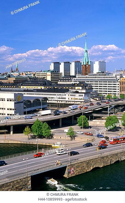 Sweden, Stockholm, Car, Cars, City, Church, Boat