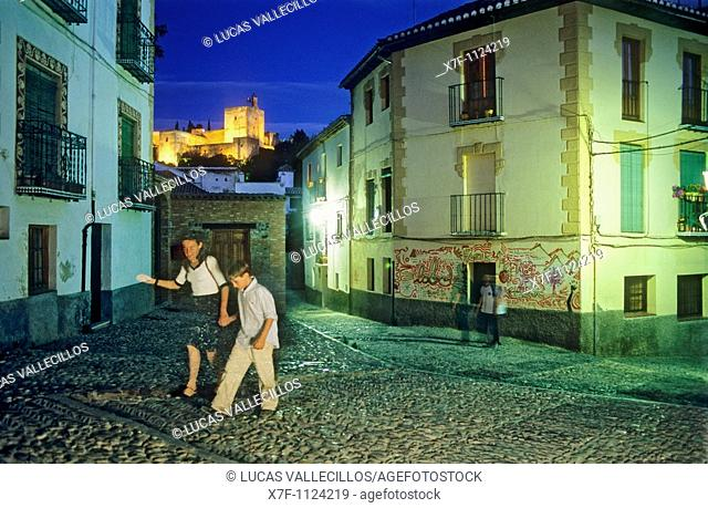 AlhambraVela tower as seen from Albaicín quarter  Granada, Andalucia, Spain