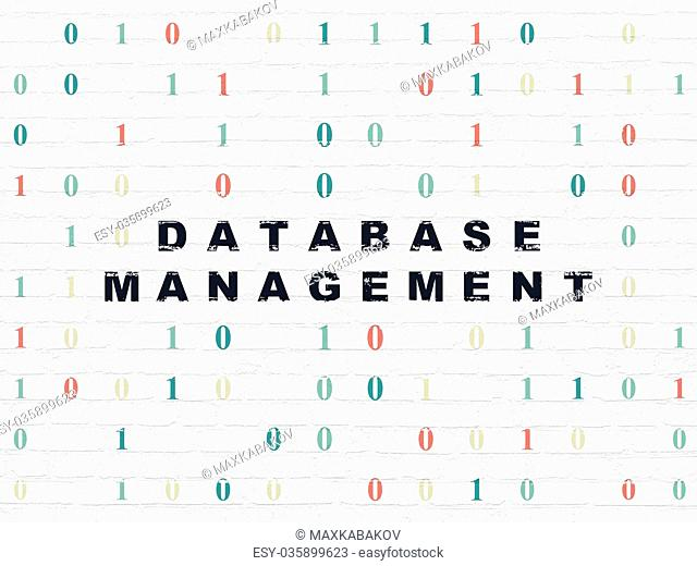 Database concept: Database Management on wall background