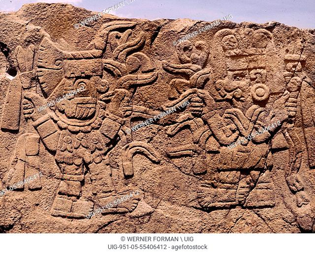 Relief showing Tlaloc, the rain god bringing blessings to the maize goddess