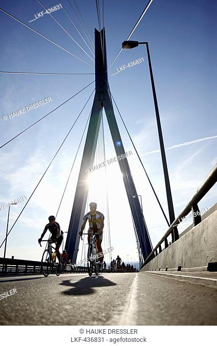 Closed Koehlbrand Bridge during the Cyclassics cycling race, Wilhelmsburg, Hamburg, Germany