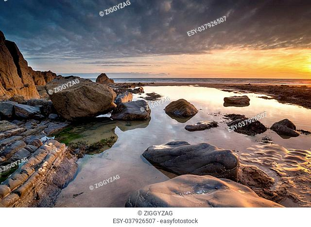 Beautiful sunset at Sandymouth Beach near Bude on the Devon and Cornwall border