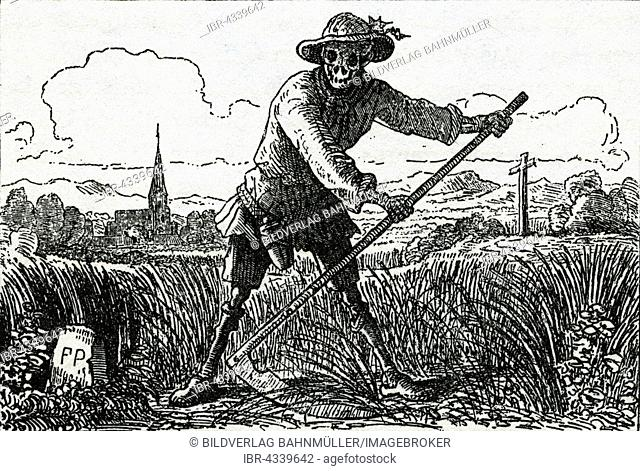 The Grim Reaper, drawing by Count Franz Pocci, 1807-1876
