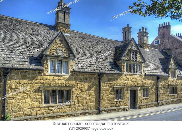 Traditional stone building from 1640 in Melton Mowbray Leicestershire UK