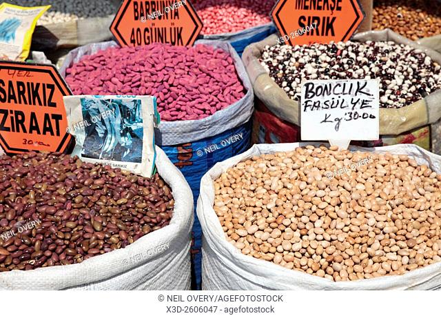 Beans for sale at market, Istanbul, Turkey