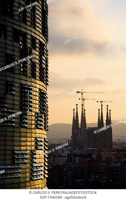 Panoramic of Barcelona, with the Agbar Tower and Sagrada Familia Church, Barcelona, Spain