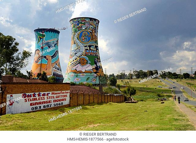 South Africa, Gauteng province, Johannesburg, Orlando Towers overlooking the Orlando area of Soweto, the two cooling towers from the Orlando Power Station