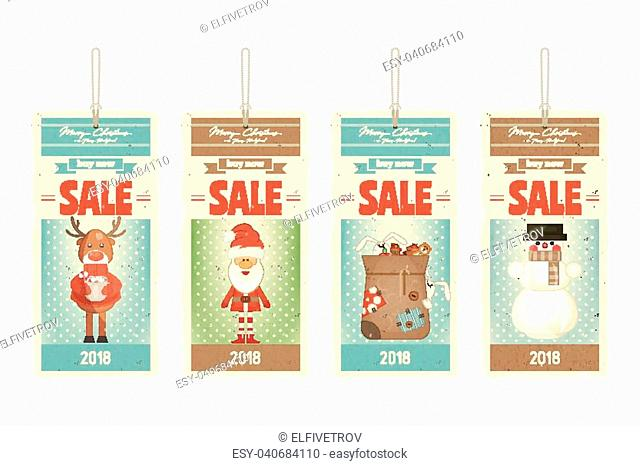 Christmas Sale Tags in with Santa Claus and Xmas Characters. Vector Illustration