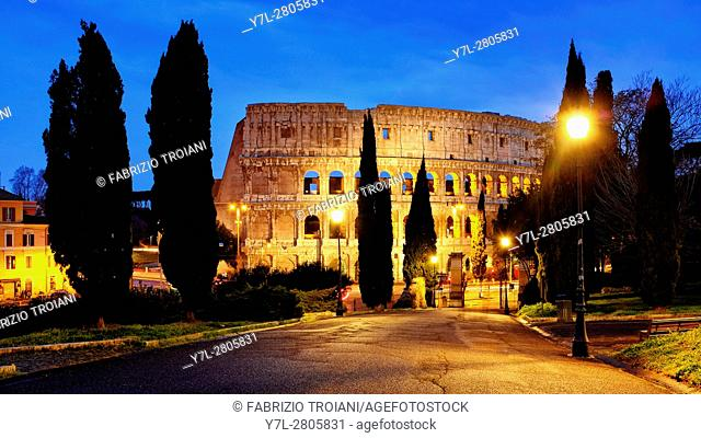 View of the Colosseum from the Oppian Hill, Rome Italy