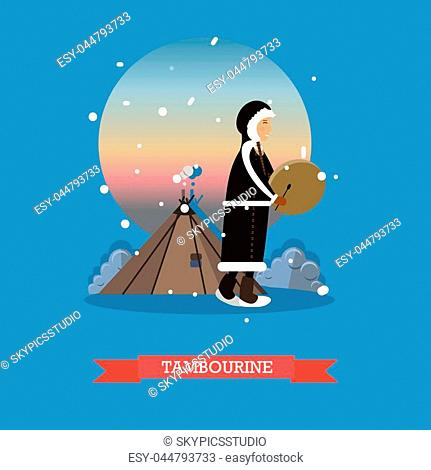 Vector illustration of smiling eskimo, chukchi character playing tambourine. Arctic landscape, northern people lifestyle flat style design elements
