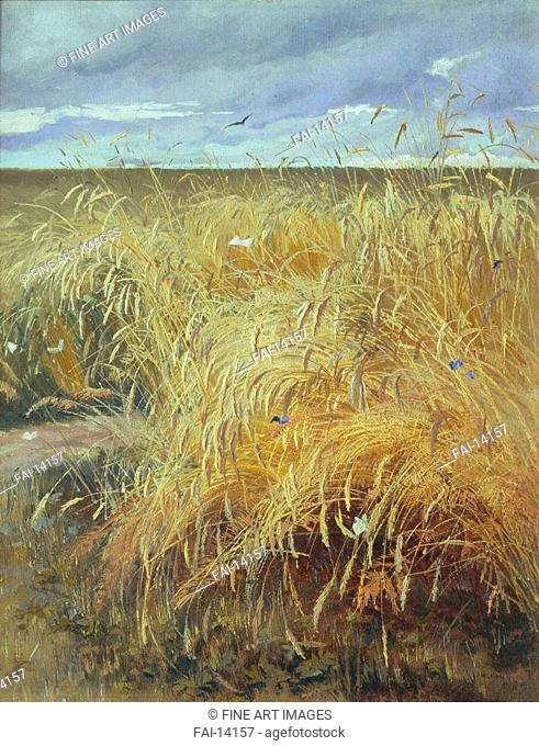 Ryefield. Lagoda-Shishkina, Olga Antonovna (1850-1881). Oil on canvas. Russian Painting of 19th cen. . State Tretyakov Gallery, Moscow. 49,2x39,8