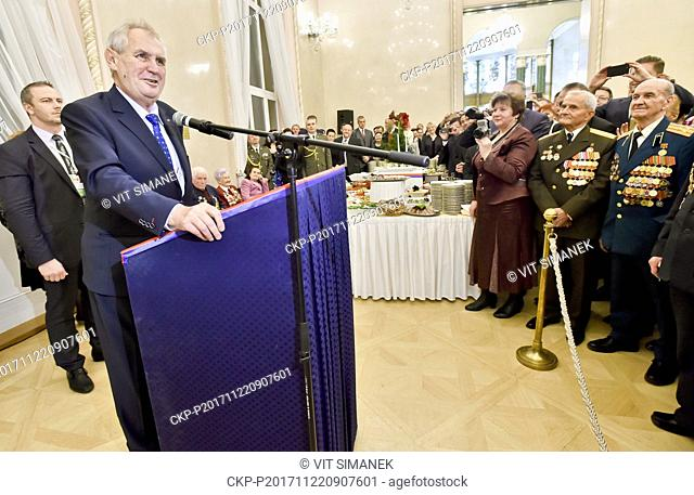 Czech President Milos Zeman (left) awarded four Russian personalities at a reception he and his wife Ivana held at the Czech embassy in Moscow today