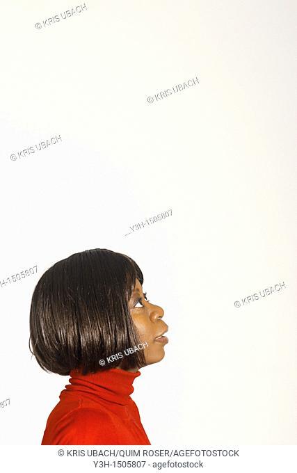 Studio shot of black woman, profile