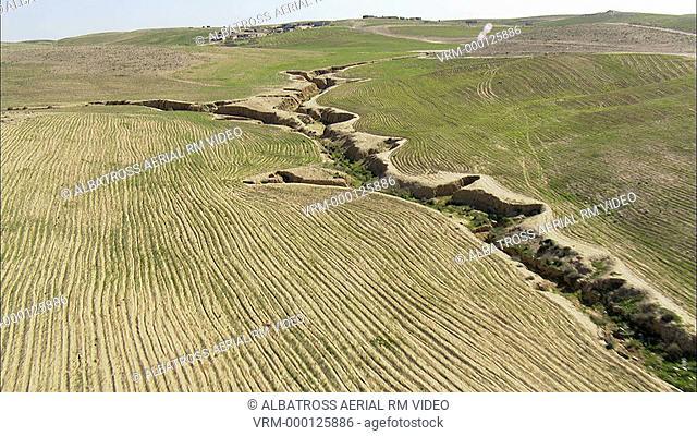 Aerial footage of wadi Yeruham in Negev Desert