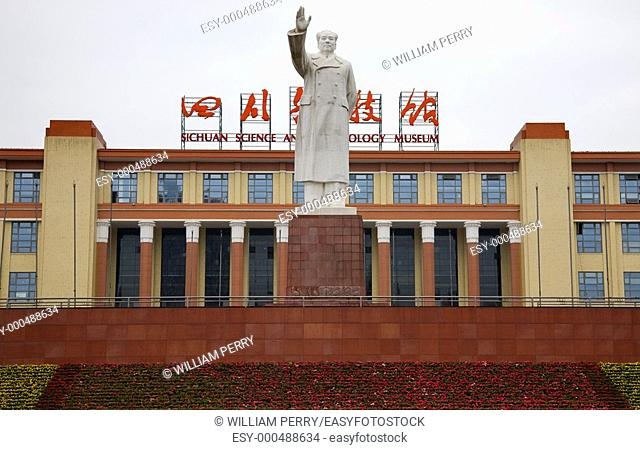 Mao Statue, Tianfu Square, Chengdu, Sichuan, China in front of the Sichuan Technology Museum  This is one of the old Mao statues, which were a symbol of China