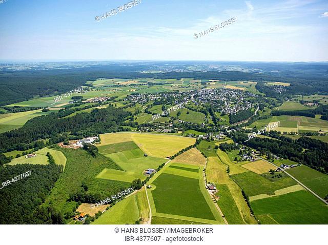 Aerial view, Hirschberg, Warstein, Sauerland, North Rhine-Westphalia, Germany