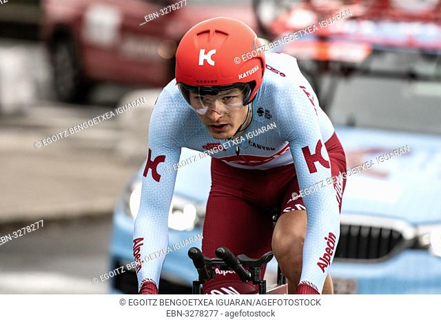 Dmitrii Strakhov at Zumarraga, at the first stage of Itzulia, Basque Country Tour. Cycling Time Trial race