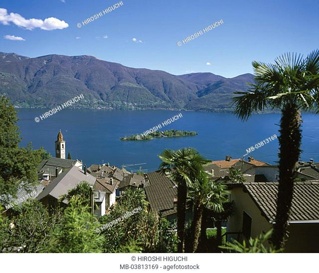 Switzerland, canton Tessin, Ronco sopra  Ascona, , church, Lago, Maggiore, Brissago-Inseln,  Europe, mountain Corona of dei Pinci, rise, mountainside