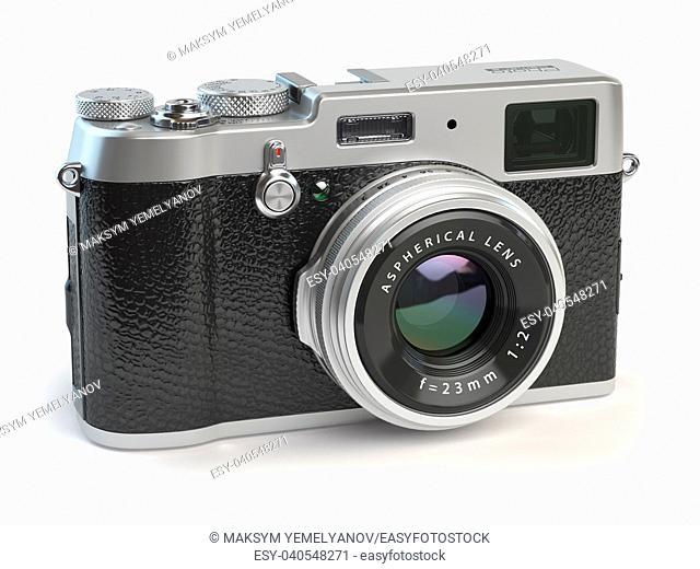 Retro vintage camera isolated on white. 3d illustration
