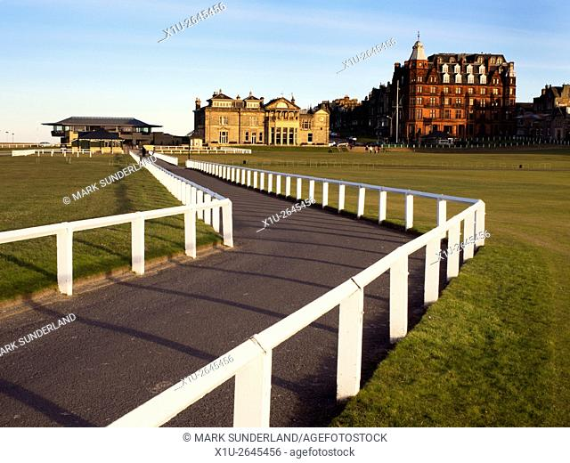 British Gold Museum Royal and Ancient Golf Club and Hamilton Grand from the Old Course at St Andrews Fife Scotland