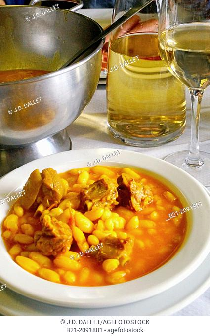 Food: 'fabada' (Spanish beans stew) with cider, Way of St James, Asturias, Spain