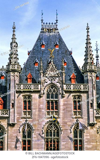 Belgium House of Governor or Provence House in Marketplace in beautiful downtown Bruges Belgium