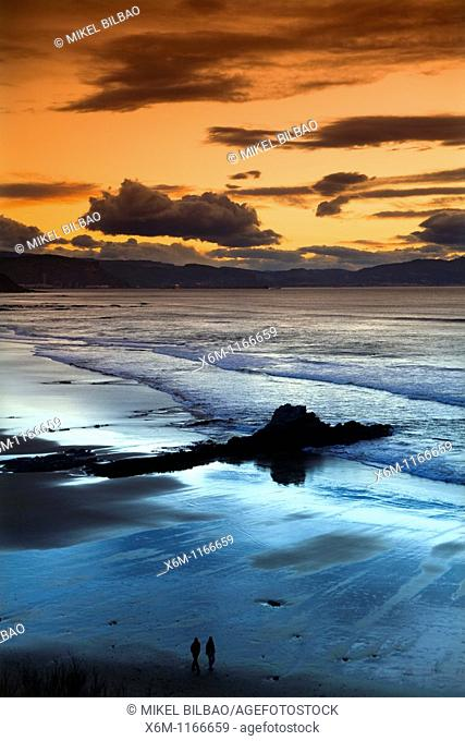 Arriatera-Atxabiribil beach at sunset  Sopelana, Uribe County, Biscay, Basque Country, Spain, Europe