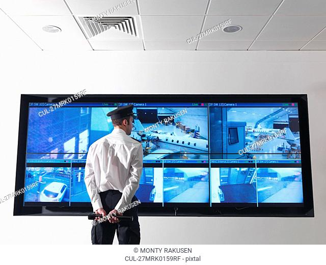 Security guard in control room