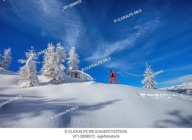 Orobie alps, ski mountainering at Meriggio peak, Lombardy, Italy