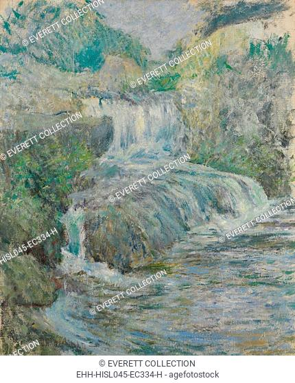 WATERFALL, by John Henry Twachtman, 1889-1891, American painting, oil on canvas. This Greenwich, Connecticut, brook near the artists Connecticut farm is painted...