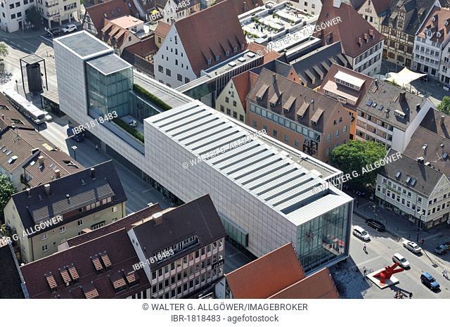 Aerial view from Ulmer Muenster, Ulm Minster, church, Kunsthalle Weishaupt, exhibition gallery, new city centre, Hans-und-Sophie-Scholl-Platz square, Ulm