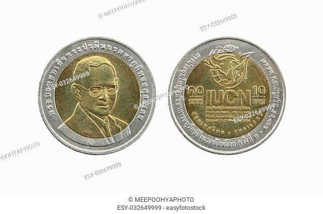 Ten Baht Thailand coins limited edition isolated on white background