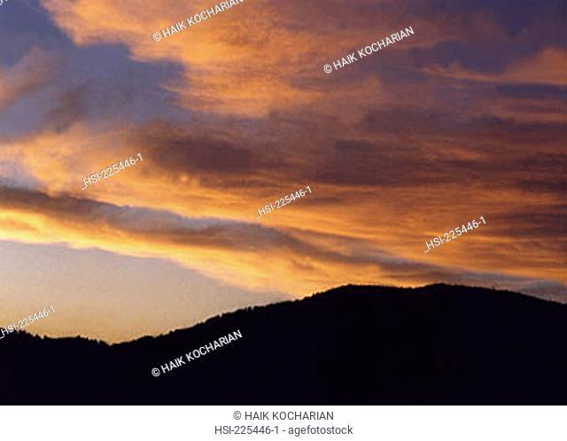 travel, scenic, United States of America, Wyoming, Yellowstone NP, landscape, sunset