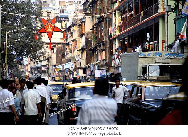 Deepawali Diwali festival ; lanterns hanging on babasaheb jaykar road ; Mumbai Bombay ; Maharashtra ; India