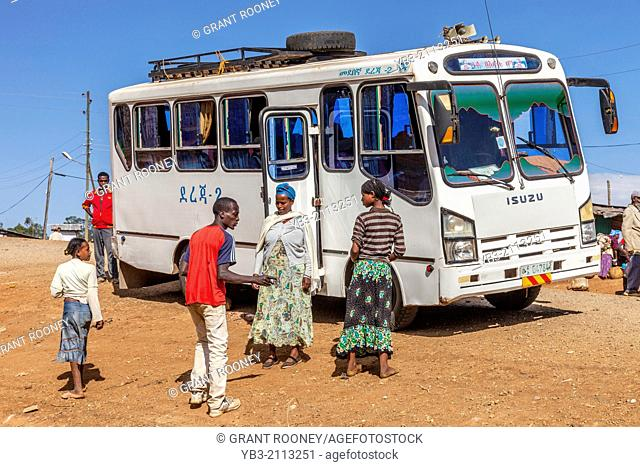 A Public Bus Waits To Fill Up With Passengers, The Dorze Village Of Hayzo, near Arba Minch, Ethiopia
