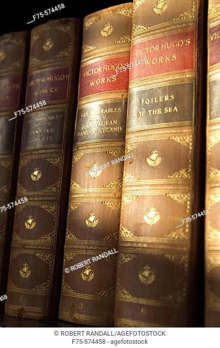 Classic Old Books by Victor Hugo in Library