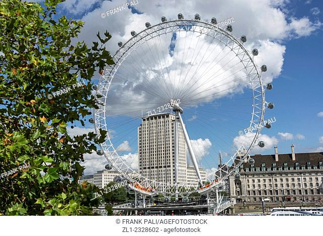 The London Eye is a giant Ferris wheel on the South Bank of the River Thames in London. Also known as the Millennium Wheel