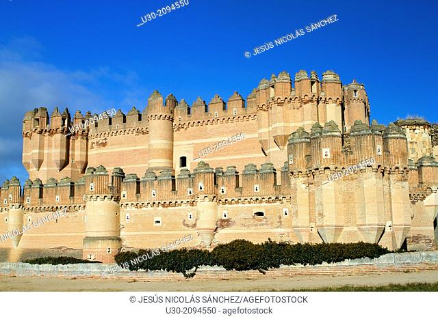 View of Coca castle, declarated National Monument. Segovia province, Castilla y León, Spain