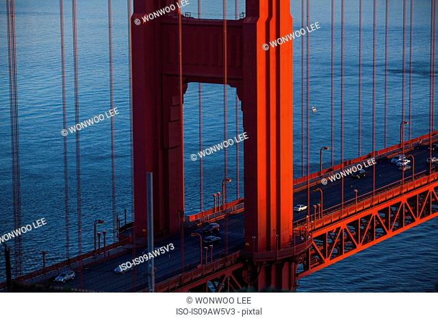 High angle detail of Golden Gate bridge and traffic, San Francisco, California, USA