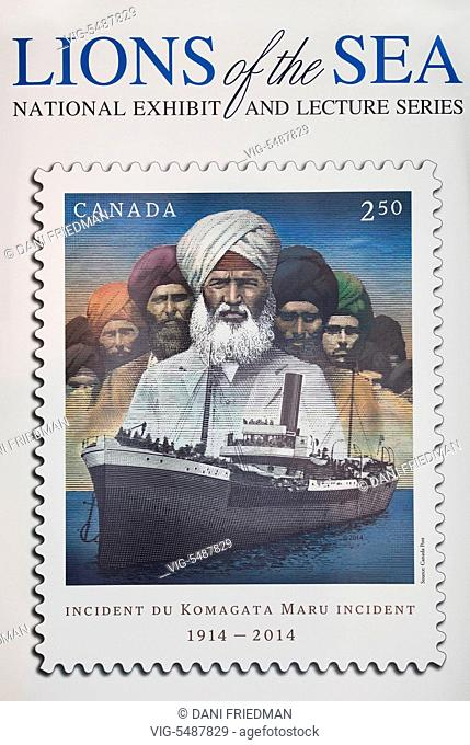 May 2015, Mississauga, Ontario, Canada -- Postage stamp unveiled commiserating the Komagata Maru incident which involved a Japanese steamship, Komagata Maru