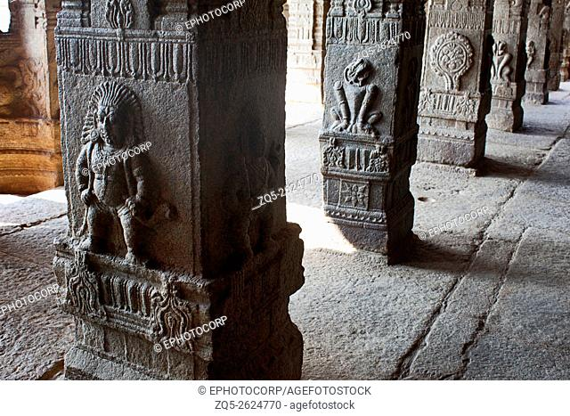 Intricate stone carving motifs depicting legends from the Ramayana, Mahabharata and Siva Purana, Lepakshi, Andhra Pradesh, India