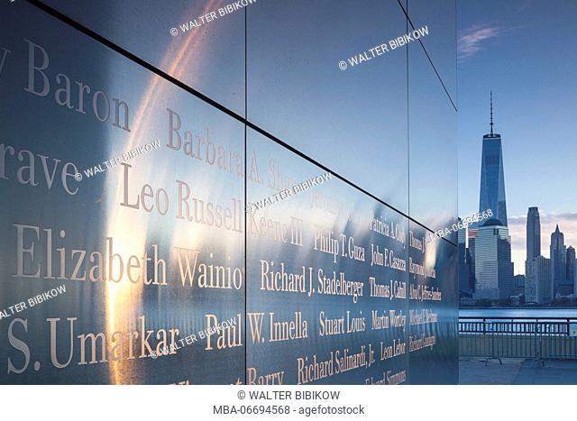 USA, New Jersey, Jersey City, Liberty State Park, 9-11 Memorial, dawn